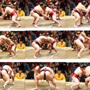 連続写真で見る炎鵬対遠藤戦