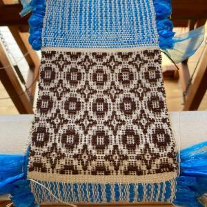 オーバーショット織りでコースター