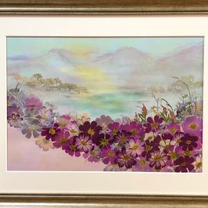 押し花作品 「穏やかな風景」
