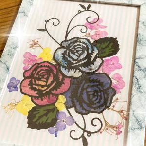 手軽に出来る押し花薔薇のステンドグラス風作品!