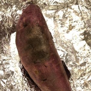 ストーブで焼いた焼き芋