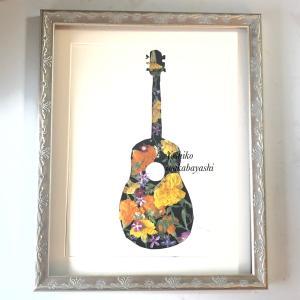 マリーゴールドのギター 押し花額