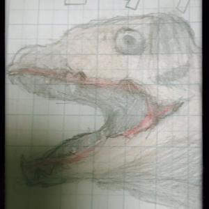 【お絵描き】息子が描いた、シンゴジラの絵。