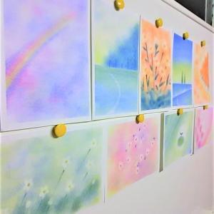 【一緒に描いてくれてありがとう】 ~ふわふわの綿で描く三原色パステルアート~ 【全国対応】