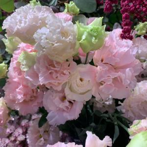 ピンク優美 リシアンサス&薔薇