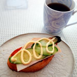 ハムと胡瓜とマヨネーズ★コーヒー風味の白湯