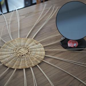 ダイソーの鏡で作るラタンミラー
