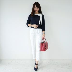 ●10/20coordinate 首元のリボンが可愛い褒められトップス♡