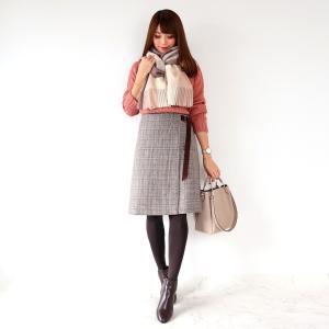 ●coordinate ラップ風デザインが大人可愛いグレンチェックスカート♡