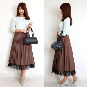 ●coordinate 裾のレースが可愛いプチプラプリーツスカート♡