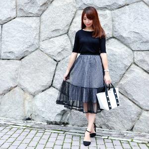 ●8/26coordinate チュール×ギンガムがかわいすぎるスカートでモノトーンコーデ♡
