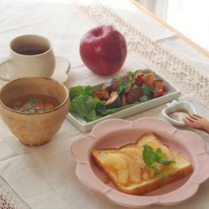 りんごトースト朝ごはん