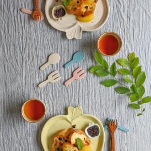 マカロンカラーのりんご皿
