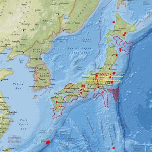 北海道と那須岳の地震計数値・ノイズが高め…