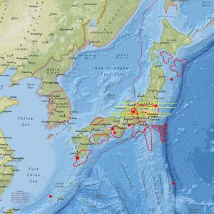 北米プレート・フィリピンプレート境界応力値が低下、長野県中部で群発地震…