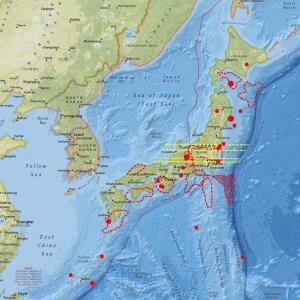 長野県周辺の地震計は依然活発な数値、北海道と九州方面も…