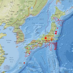 各地の地震計数値とノイズが上昇…