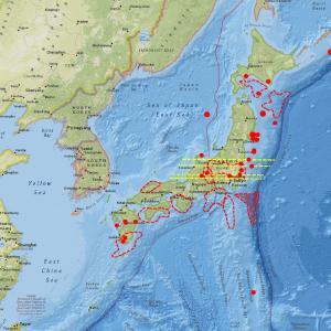 北海道の地震計数値が上昇…