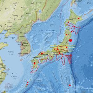 伊豆大島近海と九州方面は今暫く注意…