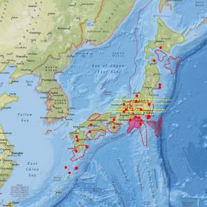 プレート境界付近で地震多発…