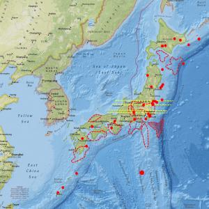 ユーラシアプレート応力値が『0』、過去M5以上の発震が多い状態…