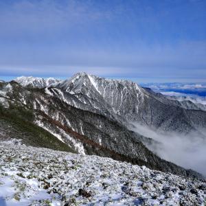 雪が降った翌日、蝶ヶ岳山頂からの穂高連峰大パノラマを見に・・・