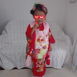 三才お祝い前撮り写真準備・掛け着に袖丸みを作りました~