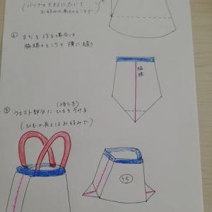 スカートからエコ袋作り方図&基礎縫い40年物~