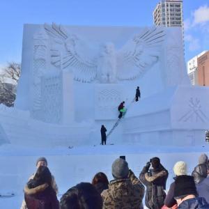 「ウポポイ(民族共生象徴空間)2020.4.24.open」の雪像です ♪