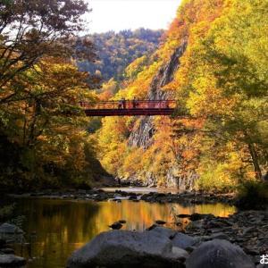 北海道の紅葉 第三弾 「定山渓温泉 二見吊り橋」です ♪