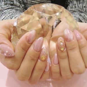 【ハンドジェル】ピンクミラーが可愛い華やかネイル☆安芸区トータルビューティーサロンTiary