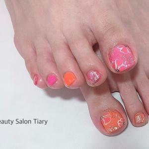 【フットジェル】ピンク×オレンジに花を咲かせて☆安芸区トータルビューティーサロンTiary
