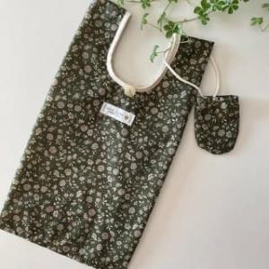 グリーンの花柄ナイロン生地でコンビニ袋サイズのエコバッグ