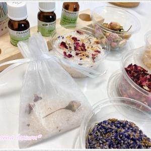 アロマバスソルト作り!ピンク岩塩とハーブを使って可愛く仕上げます!パニック障害