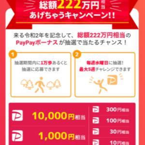 PaPayボーナス総額222万円が当たる!!