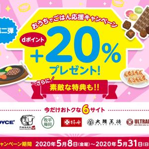 大阪王将等6サイト、d払いで+20%ポイントプレゼント!!