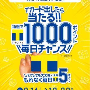 九州沖縄限定。Tカード提示でのお買い物で、1日1回1000ポイントが当たる。外れても全員に5ポイントプレゼント!! 12/22まで。