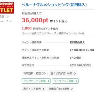 ベルーナグルメショッピング、初回購入で1800円ゲット!! 商品実質無料の上、お小遣い稼ぎもできますよ~。