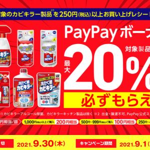 カビキラー250円以上購入で、購入金額の最大20%分のPayPayボーナスが貰えます。9/30まで。