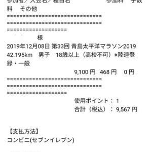 第33回青太マラソン2019エントリー完了o(^o^)o