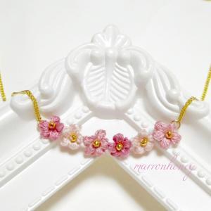 新作♡ふんわりお花のネックレス♡くすみピンク