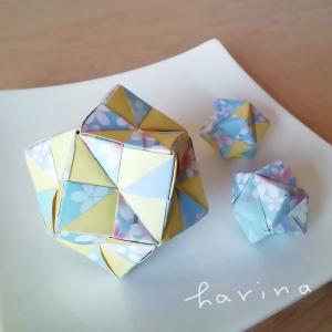 ユニット折り紙*ダイソー両面ちよがみ桜吹雪*くす玉3個