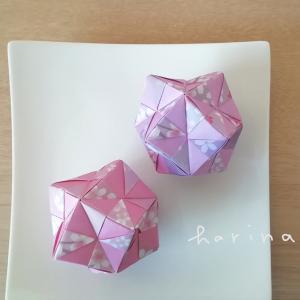 ユニット折り紙*ダイソー両面ちよがみ桜吹雪*2色折りくす玉
