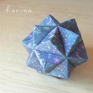 ユニット折り紙*セリア デザインペーパー フラワー刺繍モチーフ2種