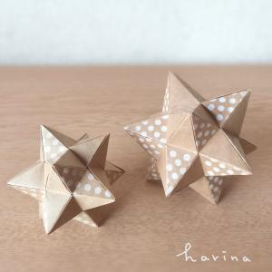 ユニット折り紙*クラフト折り紙+水玉スタンプ*星型★