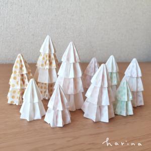 ユニット折り紙*くす玉パーツのツリー*パステルドット