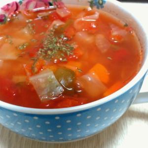 デトックススープと、焼きパプリカのマリネ