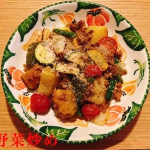 夏野菜炒めと犬ごはん 210616