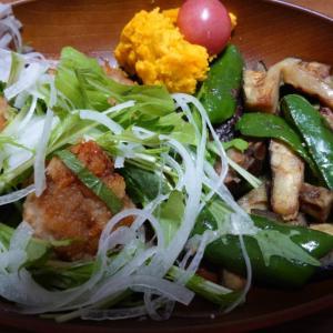 夕食レシピ☆唐揚げ香味野菜プレート☆