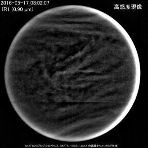 金星探査機「あかつき」近赤外線カメラ IR1 (0.90 µm)で見た金星の雲の動き (No.3)